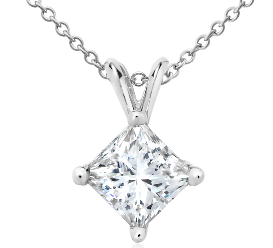 Princess-Cut Diamond Solitaire Pendant in 18k White Gold (2 ct. tw.)