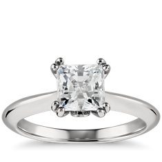Princess-Cut Double Claw Solitaire Engagement Ring in Platinum