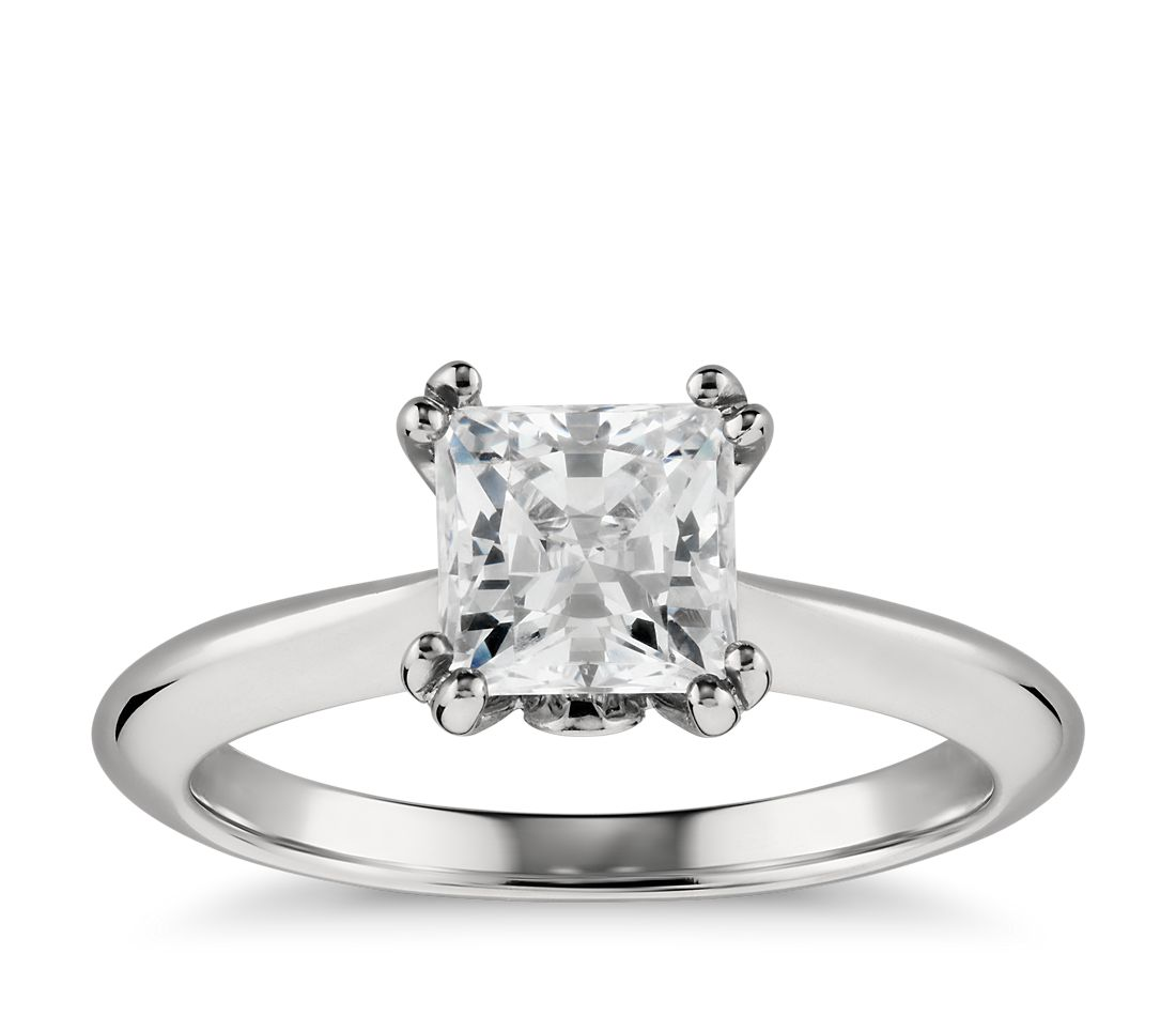 Princess-Cut Surprise Diamond Solitaire Engagement Ring in Platinum