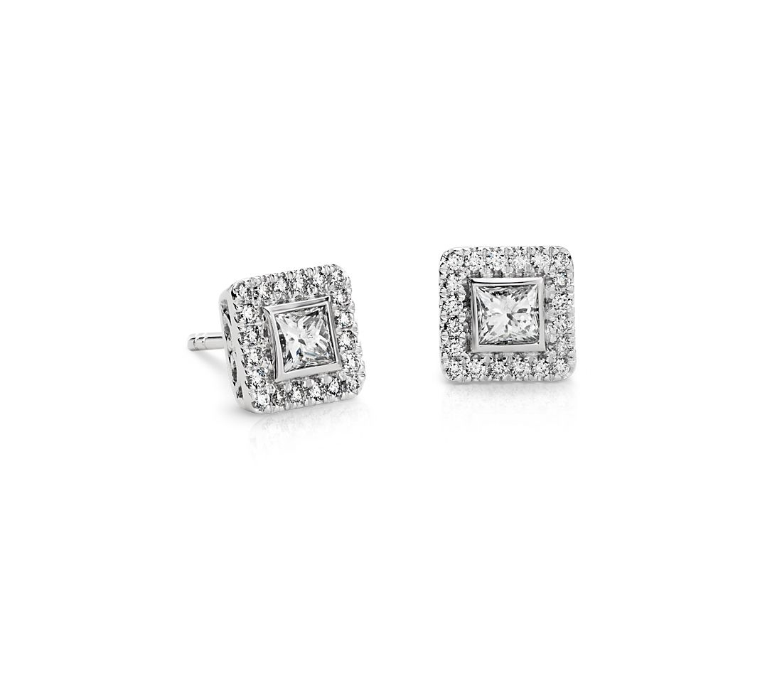Princess-Cut Halo Diamond Earrings in 14k White Gold