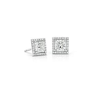 NEW Diamond Halo Princess Stud Earrings in Platinum  (2 ct. tw.) - H / SI1