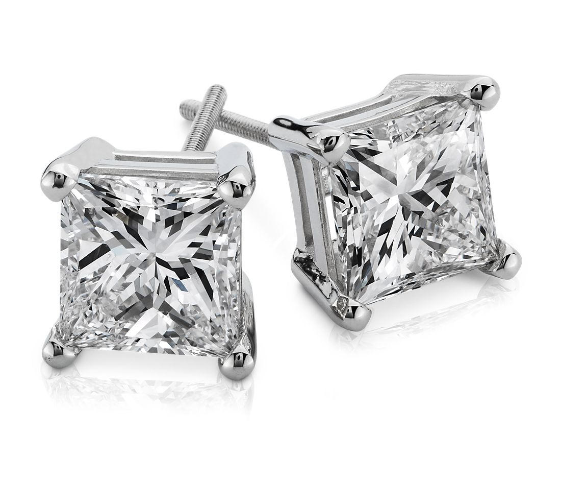 Princess-Cut Diamond Earrings in 14k White Gold (3 cttw.)