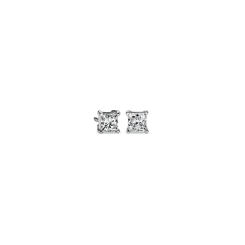 Princess-Cut Diamond Stud Earrings in 14k White Gold (1/2 ct. tw.)