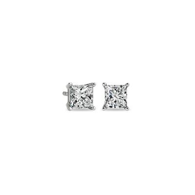 Princess-Cut Diamond Stud Earrings in 14k White Gold (1 1/2 ct. tw.)