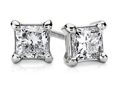 Essential Princess-Cut Diamond Stud Earrings in 14k White Gold (3/4 ct. tw.)