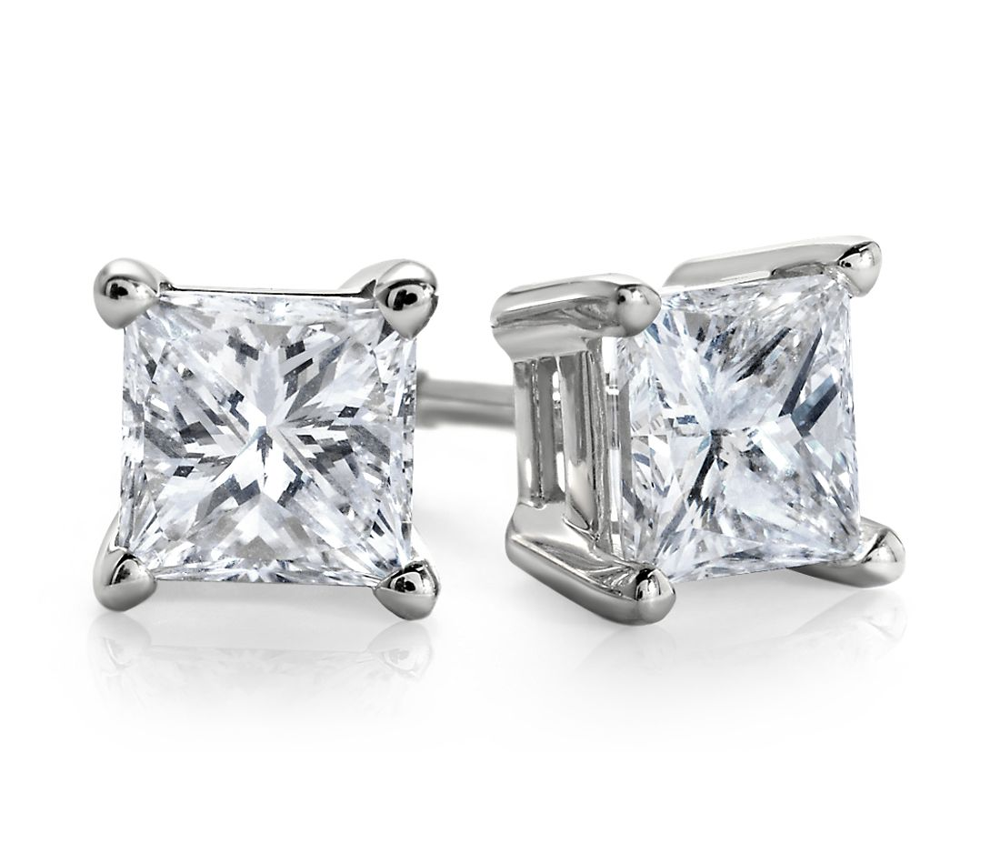 Essential Princess-Cut Diamond Stud Earrings in 14k White Gold (1 ct. tw.)
