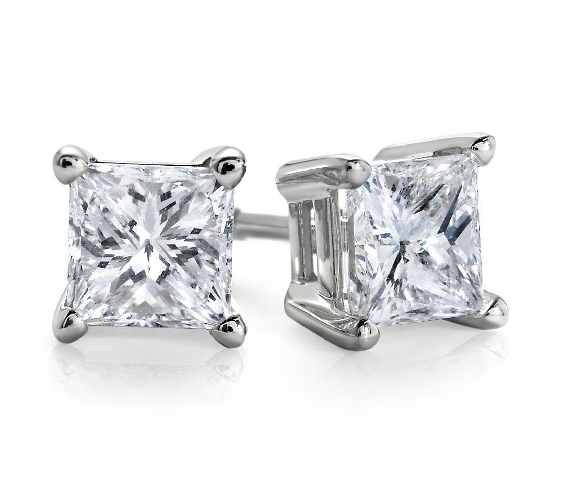 Essential Princess-Cut Diamond Stud Earrings in 14k White Gold (1 ct. tw.)