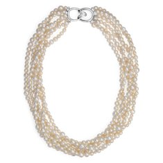 Freshwater Cultured Pearl Twist Necklace with Sterling Silver