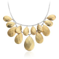 Cluster Pebble Necklace in Plata bañada en oro