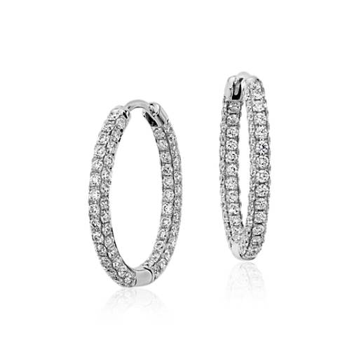 Monique Lhuillier Oval Diamond Hoop Earrings in 18k White Gold