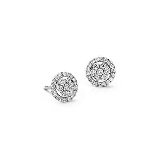 Boucles d'oreilles diamant florales pavé Monique Lhuillier en or blanc 18carats