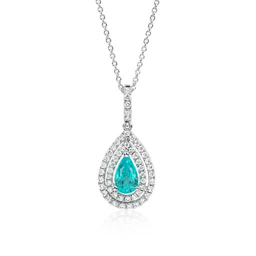 NEW Paraiba Tourmaline and Diamond Double Halo Pendant in 18k White Gold (0.93 ct center)