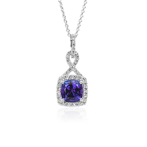 NEW Cushion-Cut Tanzanite and Diamond Halo Infinity Twist Pendant in 18k White Gold (8mm)