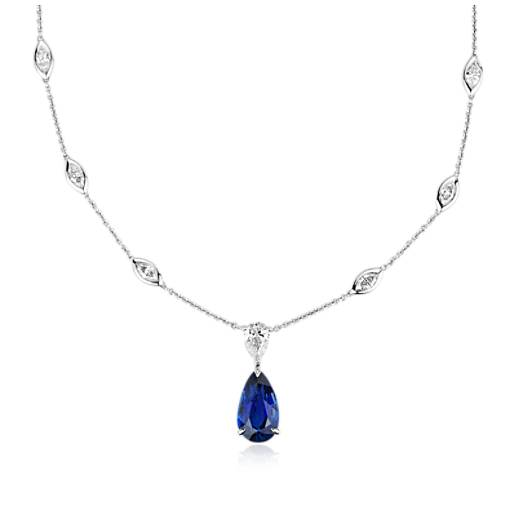 NEW Pear Sapphire Diamond Station Necklace in 18k White Gold (3.56 ct. center)