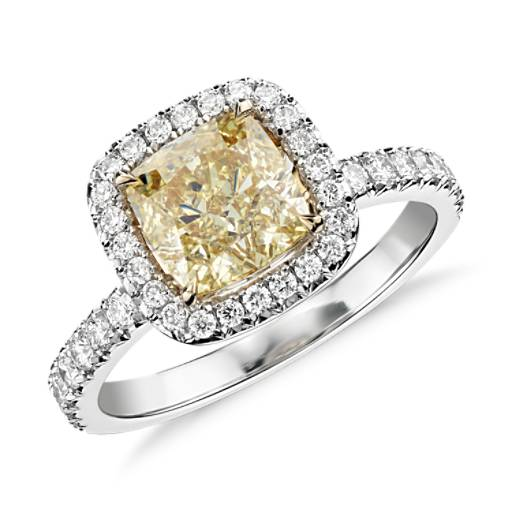 NEW Fancy Yellow Cushion-Cut Micropavé Halo Diamond Ring in18k White and Yellow Gold (1.61 ct. center)