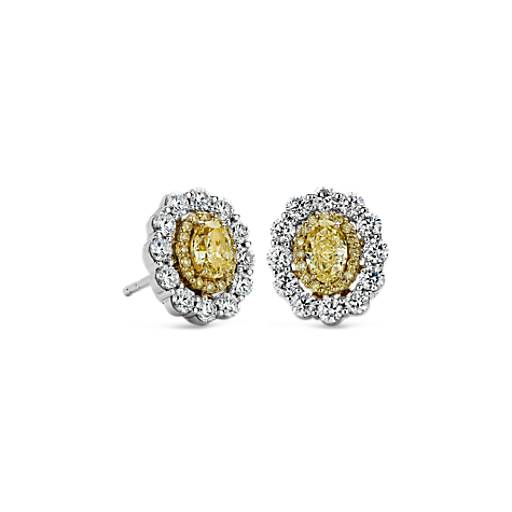 NEW Double Halo Yellow and White Diamond Earrings in 18k Yellow and White Gold (1 1/2 ct. tw.)