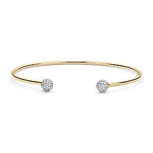Blue Nile Studio Diamond Pavé Ball Cuff Bracelet in 18k Yellow Gold