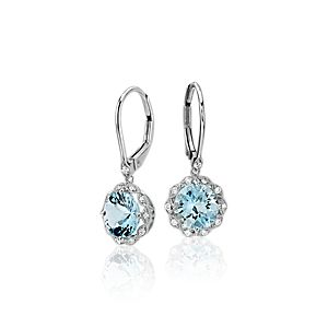 NEW Aquamarine and Diamond Milgrain Halo Leverback Earrings in 14k White Gold (7mm)