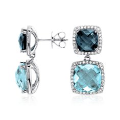 London Blue and Blue Topaz Halo Double Earrings