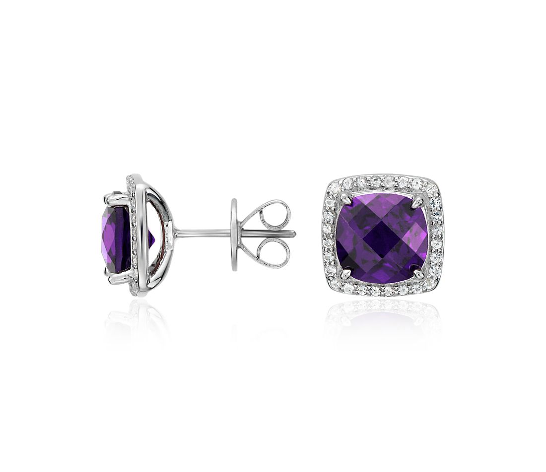 Amethyst Halo Stud Earrings in Sterling Silver