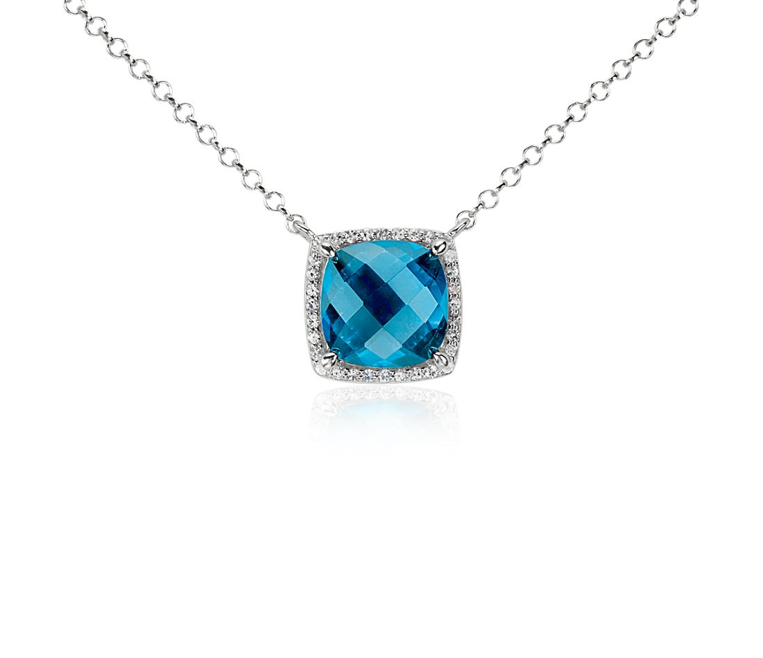Blue Topaz and White Topaz Single Halo Necklace in Sterling Silver