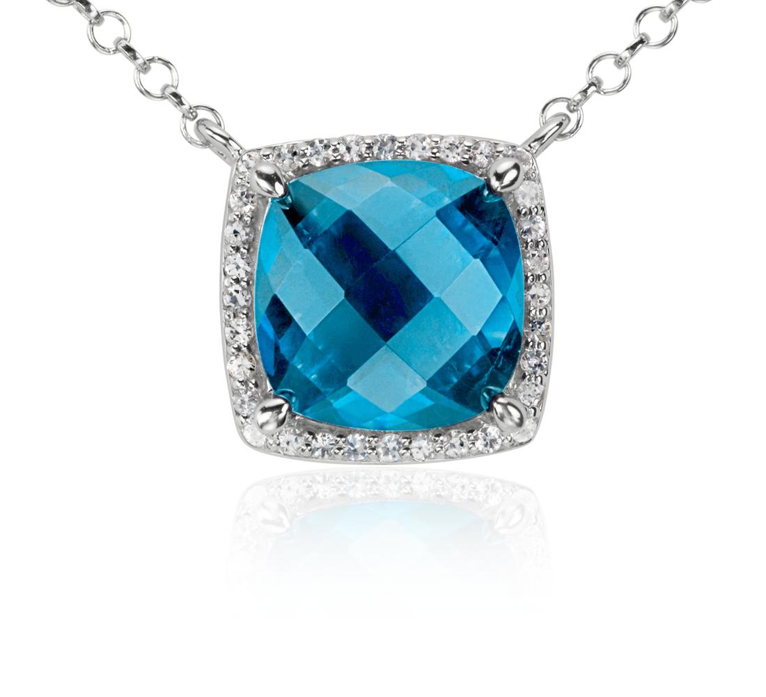 Collier halo unique topaze bleue et topaze blanche en argent sterling