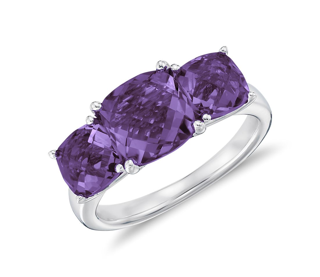 Three Stone Amethyst Ring in Sterling Silver