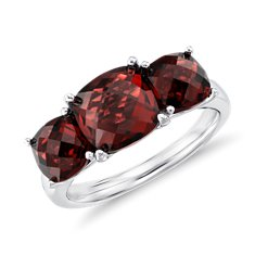Three Stone Garnet Ring in Sterling Silver