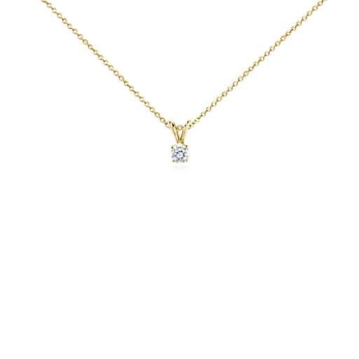 Or 18carats Pendentif diamant double bélière à Quatre Griffes (1/2carat, poids total)