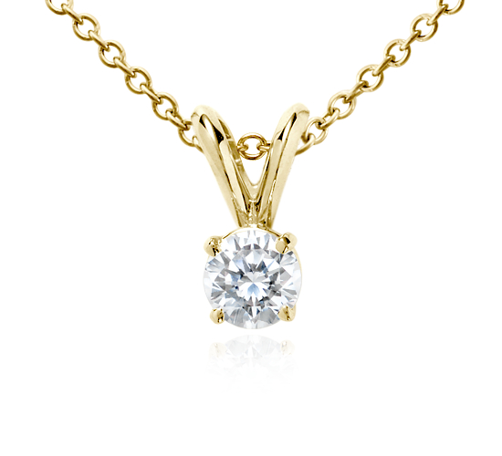 18k Gold Four-Claw Double-Bail Diamond Pendant (1/2 ct. tw.)