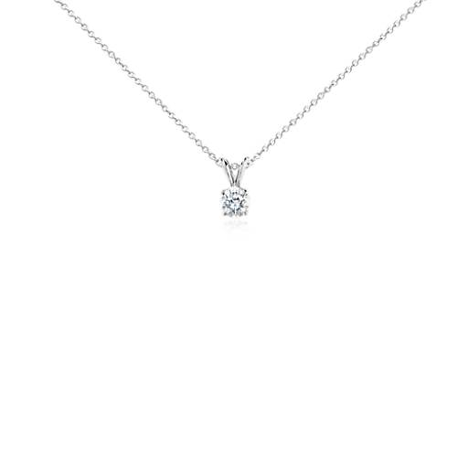 NEW 14k White Gold Four-Claw Double-Bail Diamond Pendant (3/4 ct. tw.)