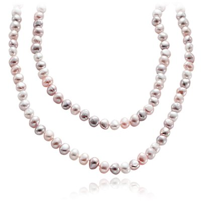 "Pastel Freshwater Cultured Pearl Necklace (54"")"