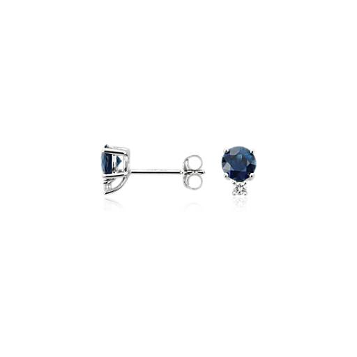 Sapphire and Diamond Earrings in 18k White Gold (5mm)