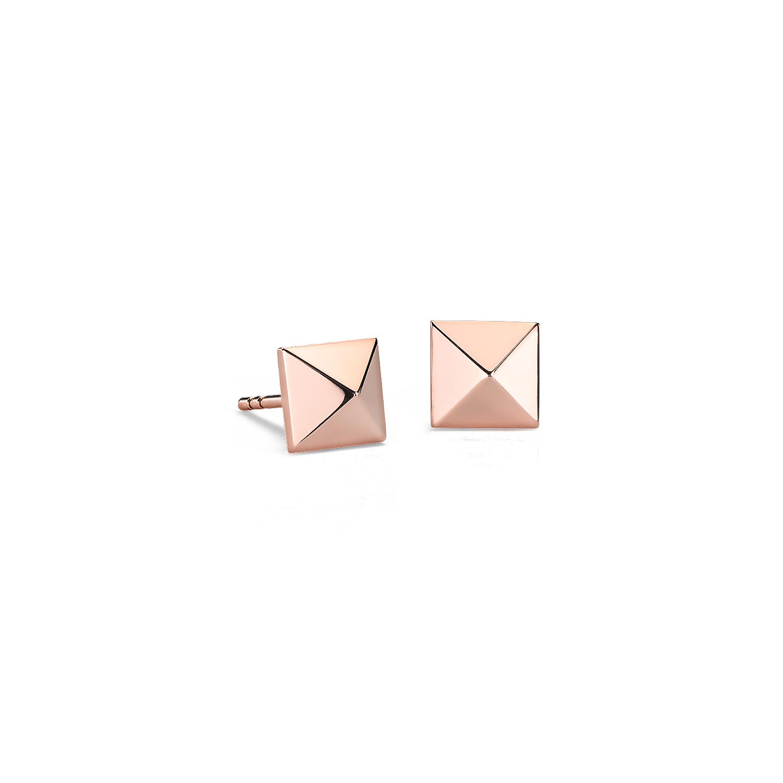 Aretes piramidales en oro rosado de 14k
