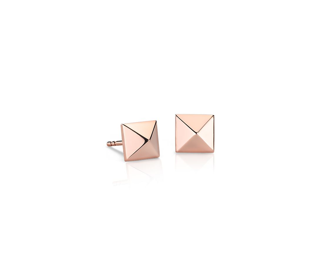 14k Rose Gold Stud Earrings Pyramid Stud Earrings in 14k
