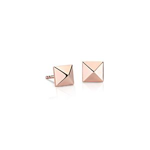 Pyramid Stud Earrings in 14k Rose Gold