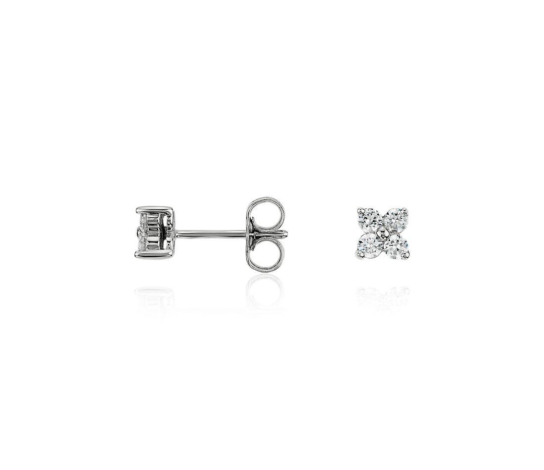 Boucles d'oreilles diamants quad en or blanc 14carats (1/3carat, poids total)