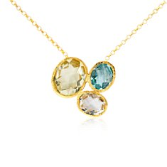 Collier en quartz citron, topaze bleue et quartz blanche en Or vermeil