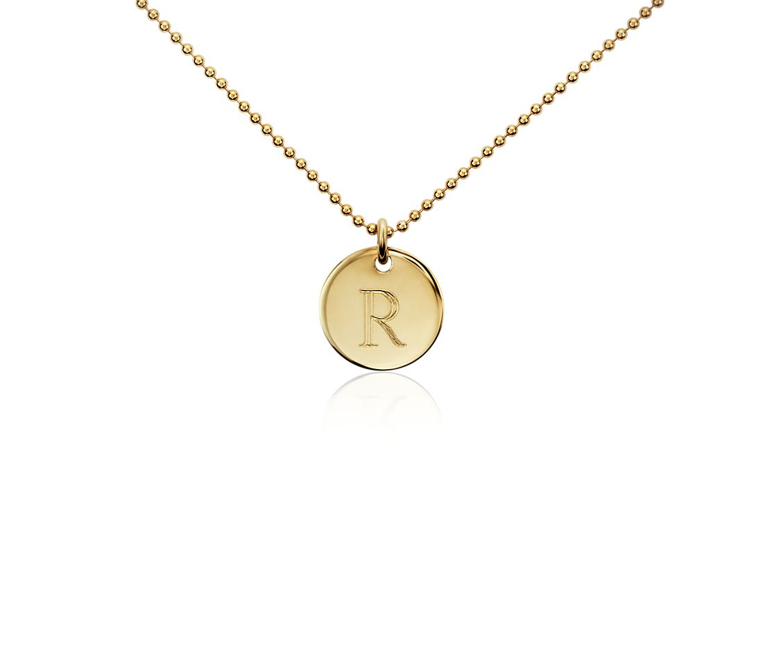 """R"" Mini Initial Pendant in Gold Vermeil"