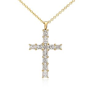 Radiant Cut Diamond Cross Pendant in 18k Yellow Gold (2 ct. tw.)