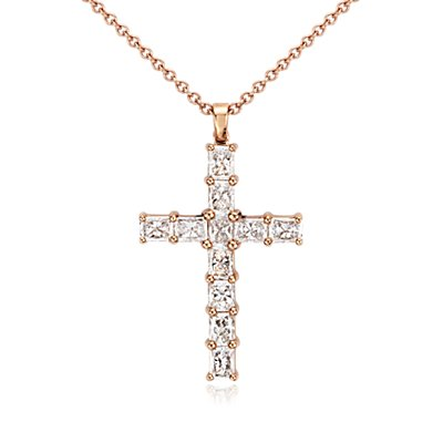 Radiant Diamond Cross in 18k Rose Gold (2 ct. tw.)