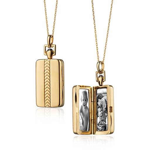 NEW Monica Rich Kosann Rectangular Chevron Locket in 18k Yellow Gold