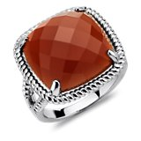 Red Agate Ring in Sterling Silver