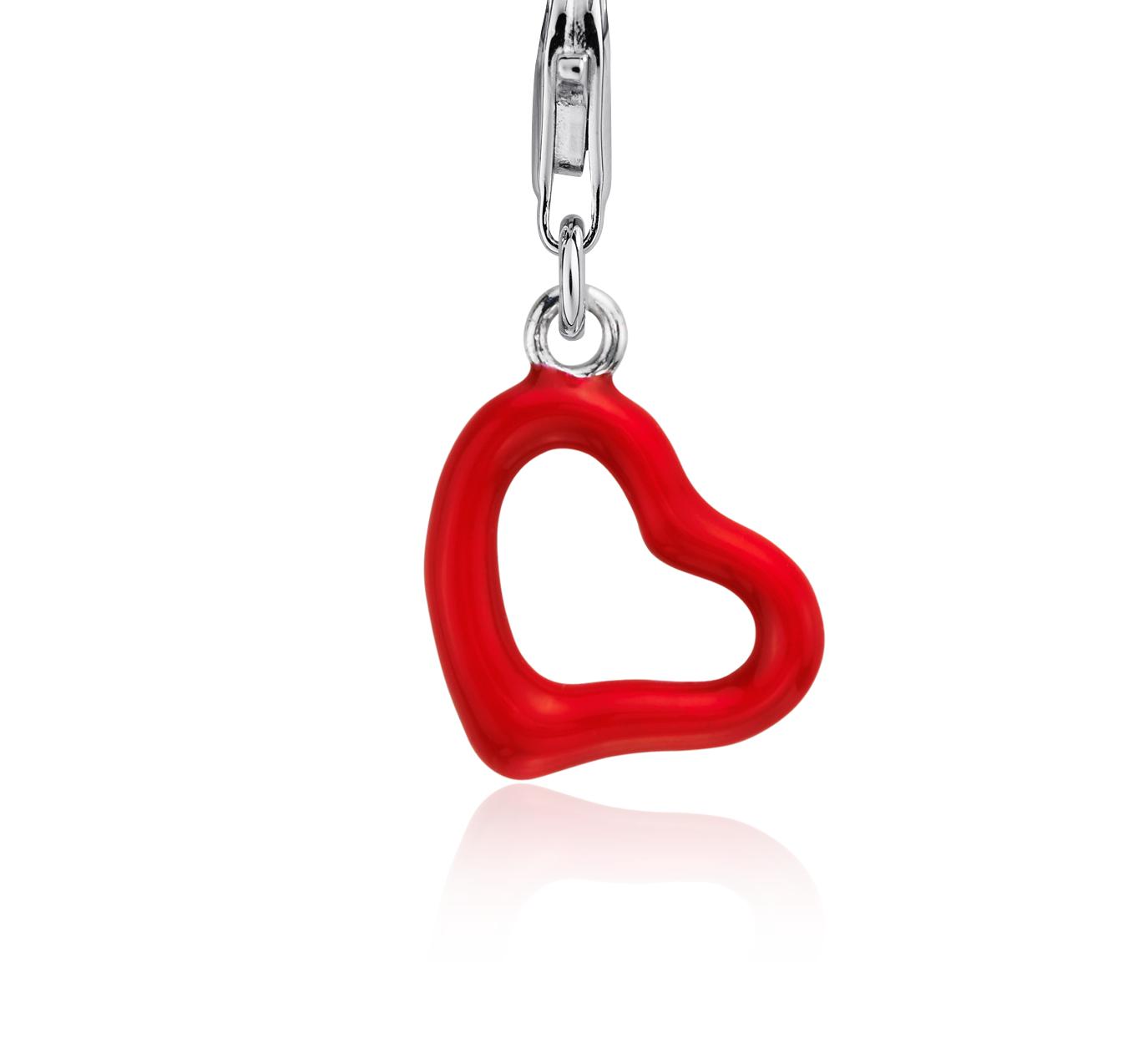 Red Enamel Heart Charm in Sterling Silver