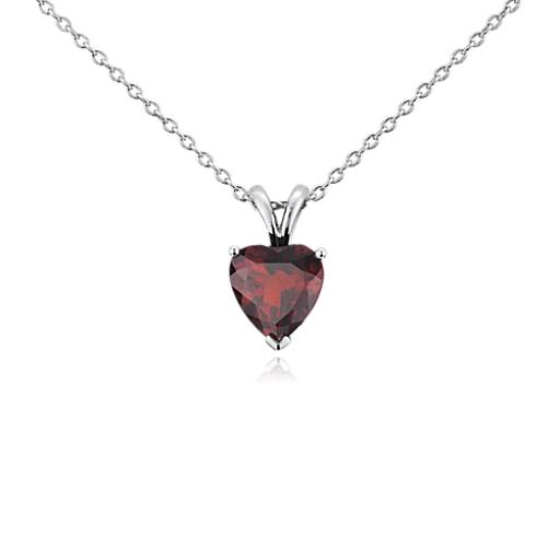 Garnet Heart Pendant in Sterling Silver (8mm)