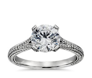 Blue Nile Studio Regal Pavé Diamond Engagement Ring in Platinum (2/5 ct. tw.)