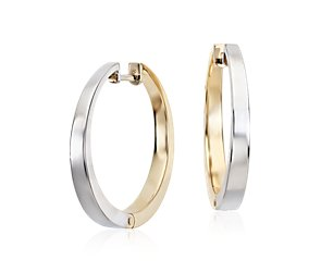 Reversible Round Hoop Earrings in 14k White and Yellow Gold