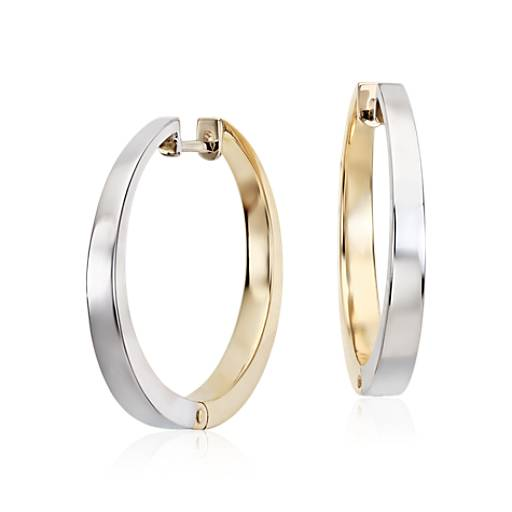 "Reversible Round Hoop Earrings in 14k White and Yellow Gold (15/16"")"