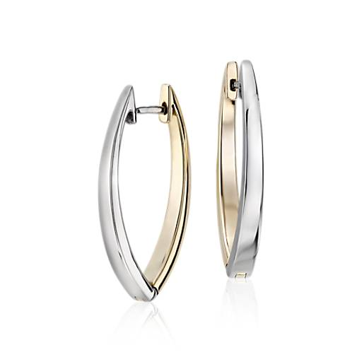 NEW Reversible Marquise Two-Tone Hoop Earrings in 14k White and Yellow Gold