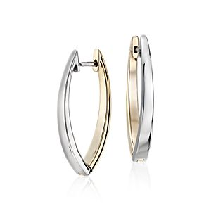 Reversible Marquise Two-Tone Hoop Earrings in 14k White and Yellow Gold